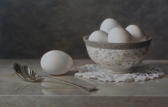 BoldBrush Painting Competition Winner - December 2014 | Silver Spoon and Eggs by Susan Paterson