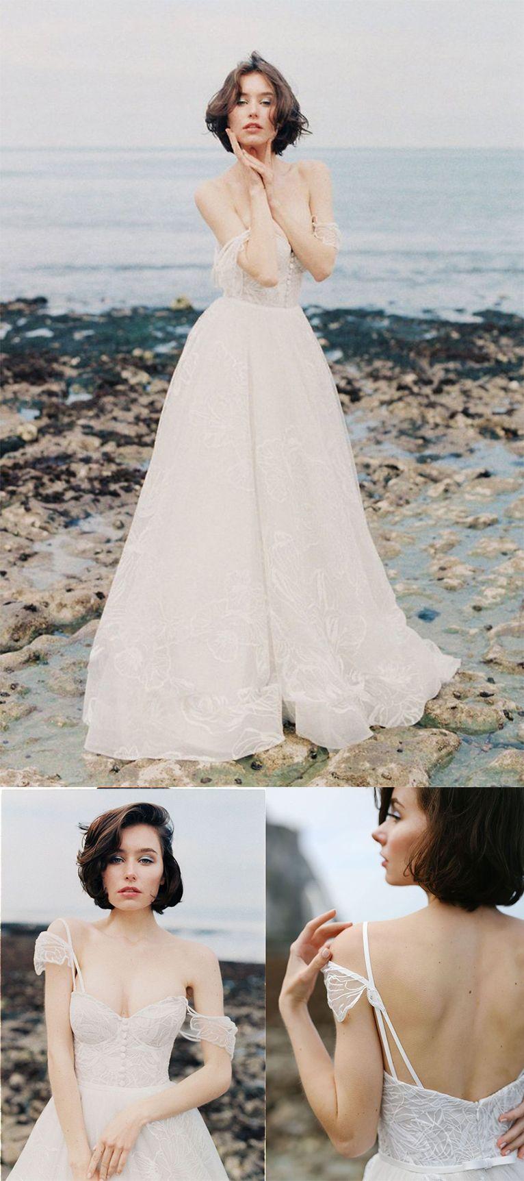 Ivory long lace spaghetti straps sweepbrush train beach wedding