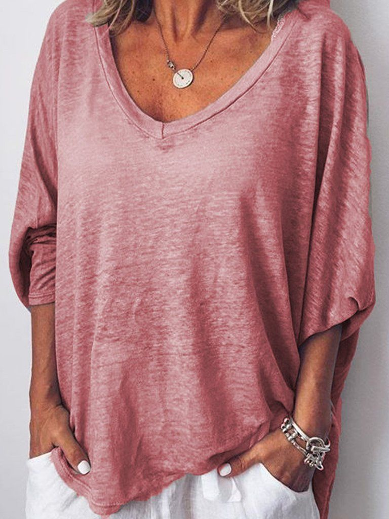 Women Long Sleeves V Neck Loose Ness Fit Shirt Top Tunic
