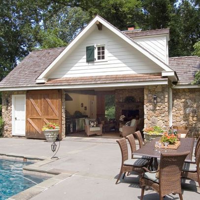 Pool house w barn doors again and stone hmmmm for for Pool house additions