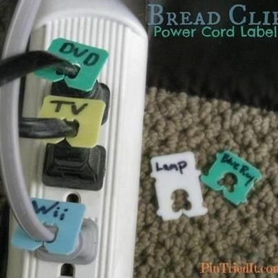 Bread clips: Brilliant! I hate trying to figure ut which wire belongs to what! Use recycled bread clips to mark plugs!