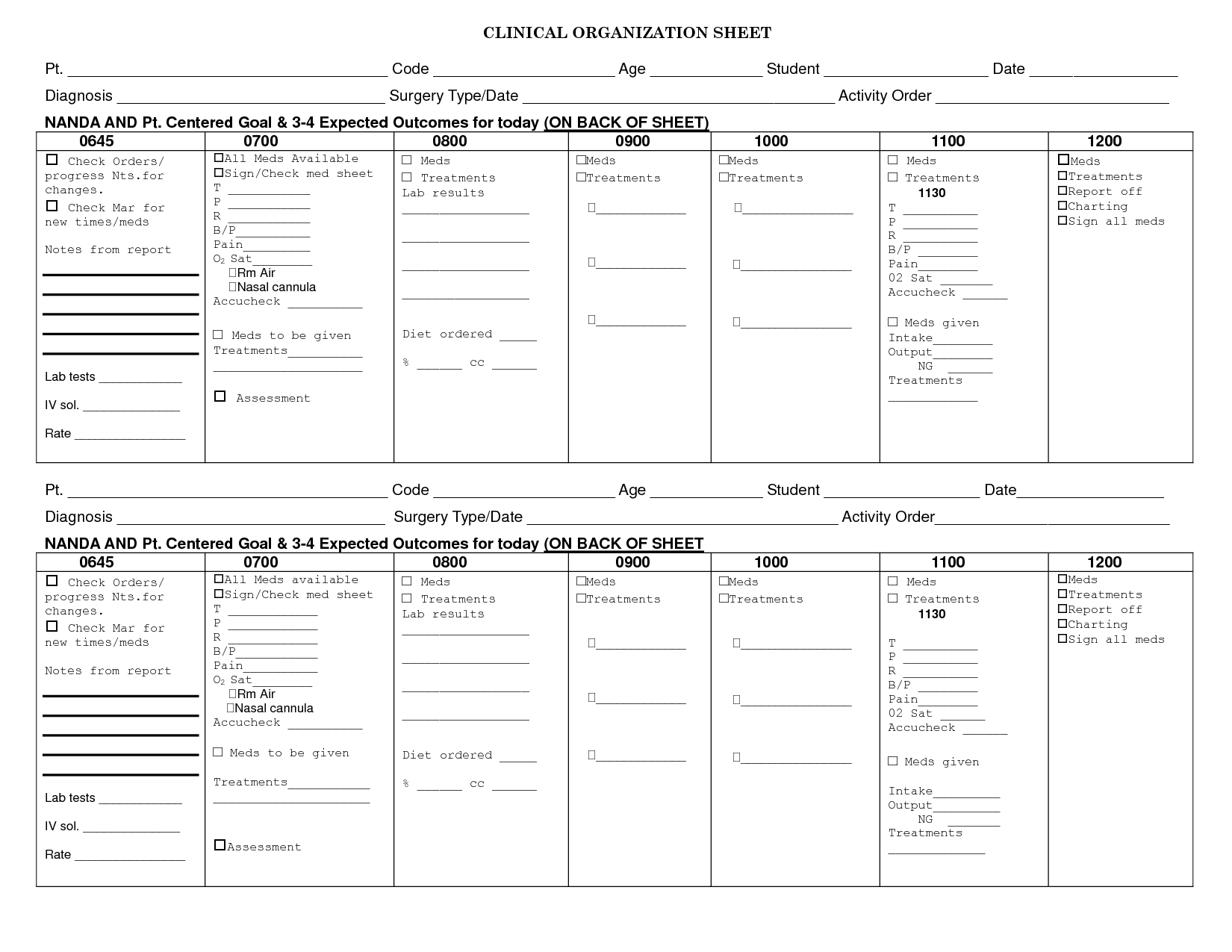 Nursing Clinical Organization Sheet
