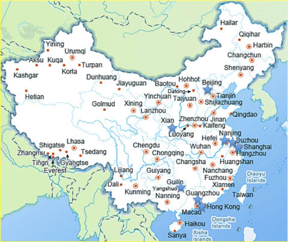 China Cities Beijing Guangzhou Guilin Nanjing Shanghai - Nanjing map