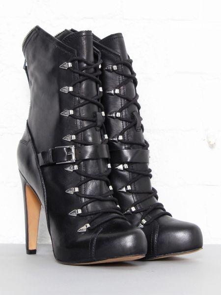 c5a6fa24f1f6f Sam Edelman Knox Lace Up Boots in Black (silver) - Lyst