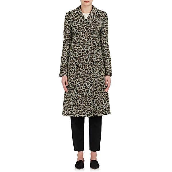 Philosophy di Lorenzo Serafini Women's Leopard Jacquard Peacoat ($1,260) ❤ liked on Polyvore featuring outerwear, coats, jacquard coat, peacoat coat, pea jacket, double breasted pea coat and leopard print peacoat