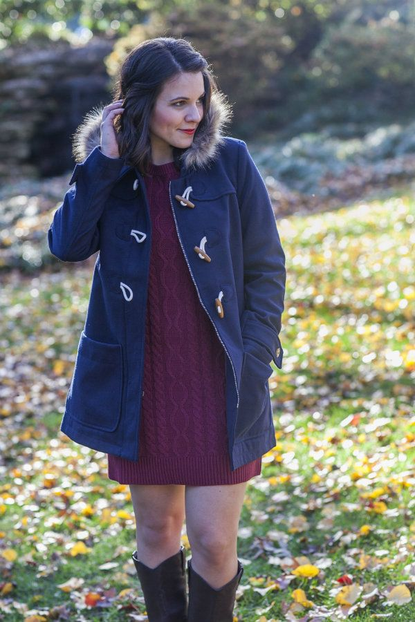 @oldnavy outfit with a classic toggle coat and sweater cable knit dress