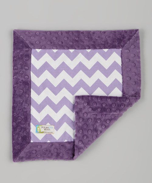 Take a look at the Polka Dot Moon Purple Zigzag Minky Security Blanket on #zulily today!