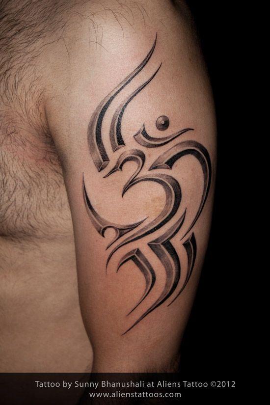 Tribal Om Tattoo Design And Inked By Sunny At Aliens Tattoo Mumbai