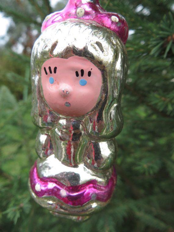 Soviet Xmas decoration Russian Christmas toy glass GIRL Soviet