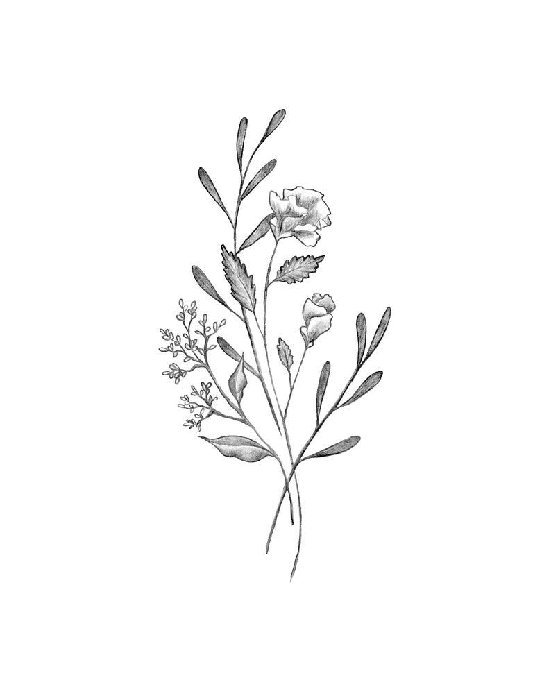 Botanical Elegant Flower Bouquet Modern Minimal Drawing Of Etsy Simple Flower Tattoo Minimal Drawings Flower Bouquet Tattoo
