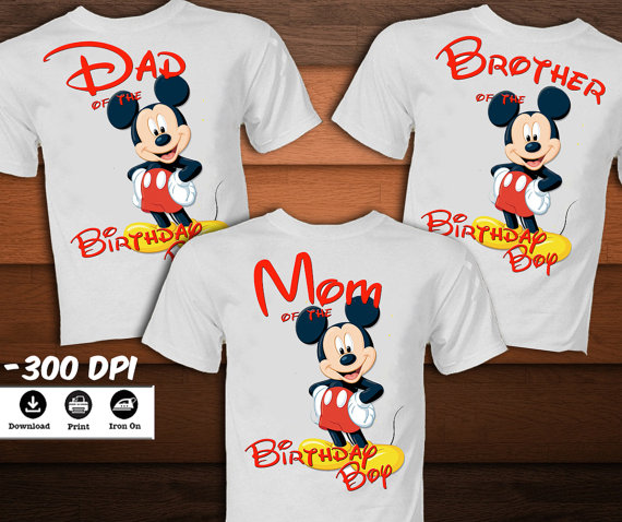 8ce5f0b12 SET Mickey Mouse Birthday Shirt for Family-Mickey Mouse Iron on ...