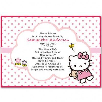 Cute Hello Kitty Baby Shower Invitations Bs068