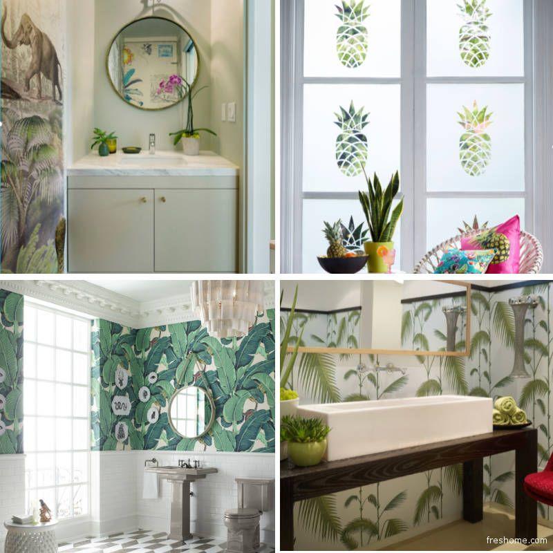 Tropical bathroom wallpaper ideas wallpaper and window film ideas for a powder room or bathroom