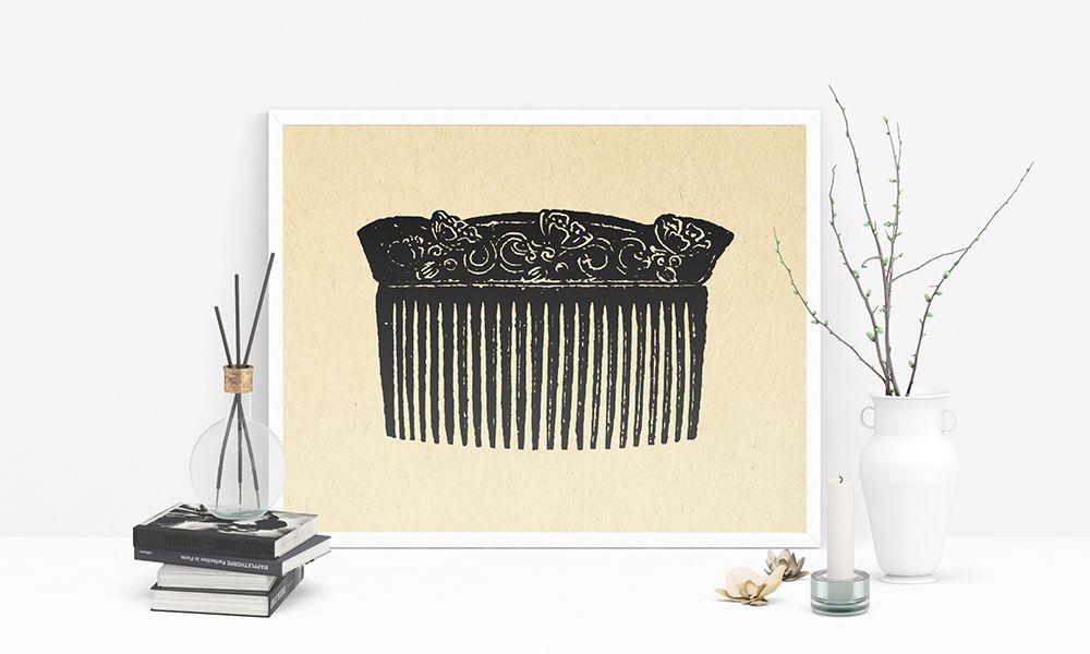 Ufficio Retro Hair : Vintage womens hair comb print illustrated salon wall art home