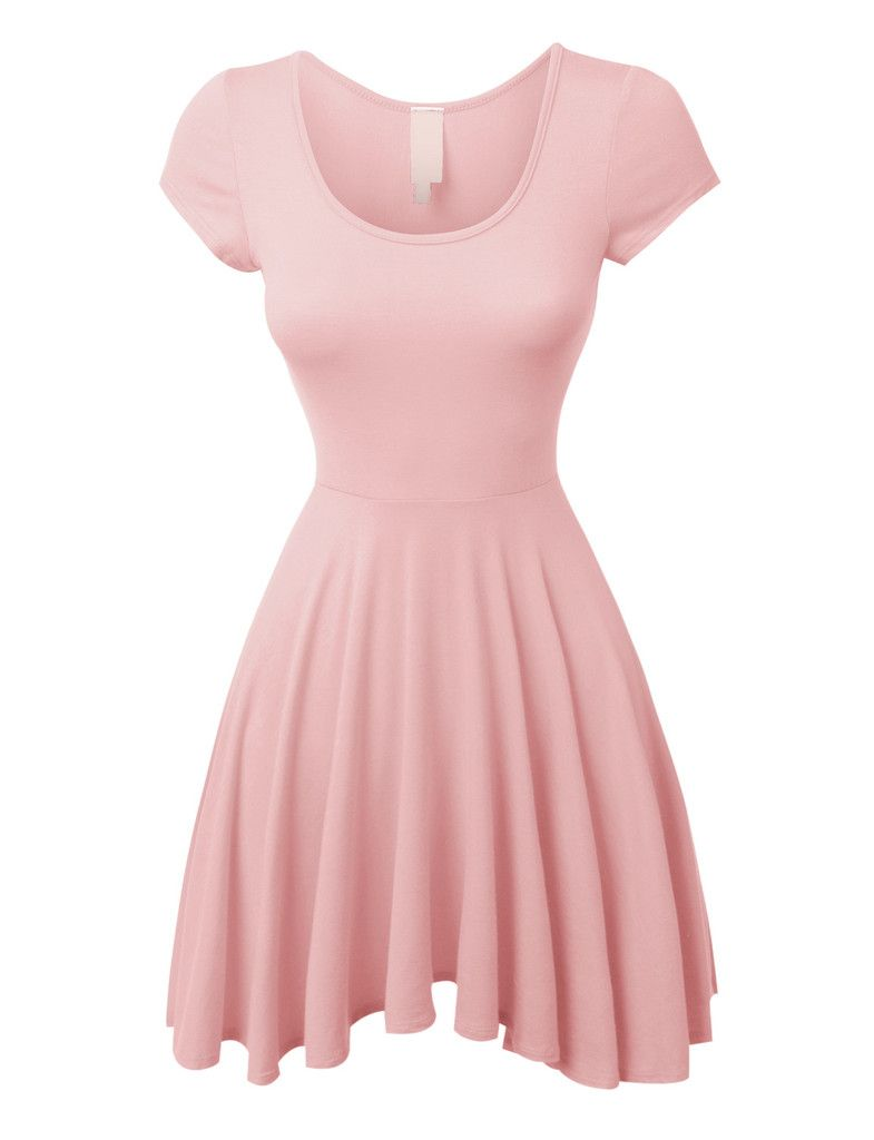 Pink short dress casual  LENO Womens Casual Short Sleeve Fit and Flare Asymmetrical Skater