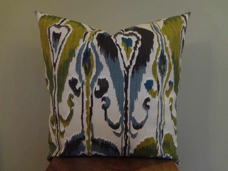 Blue And Black Pillows Part - 33: Decorative Pillow Cover Ikat Pattern Blue Gray Green Black White Toss Pillow  Accent Pillow Throw Pillow