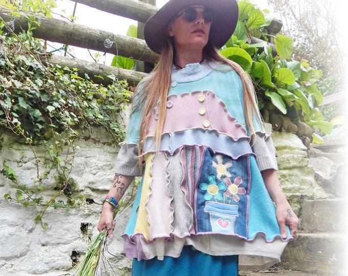 Cute Rag Doll Pink Hoodie Upcycled Jumper Sweater Hippie Spring ...
