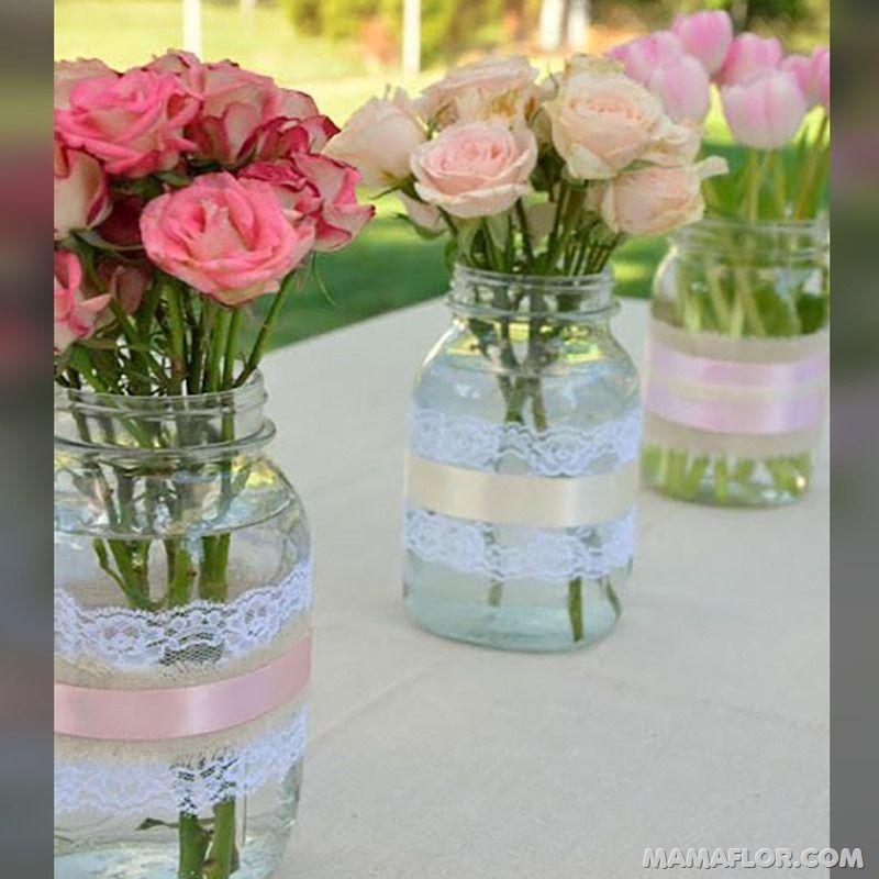 20 Matrimonio sencillo centro de mesa par boda
