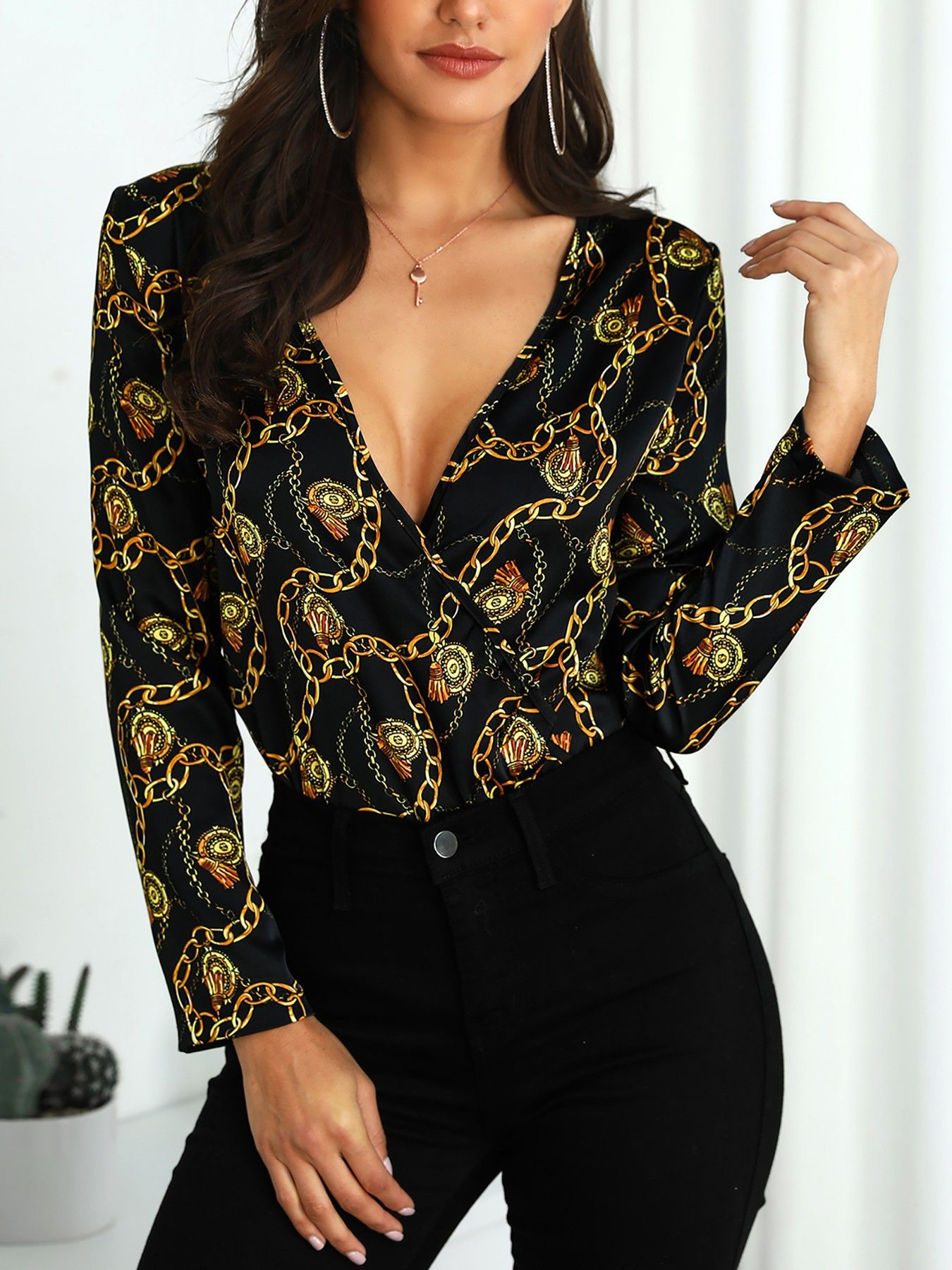 Chain Print V Neck Long Sleeve Blouse Long Sleeve Blouse Ladies Tops Blouses Fashion
