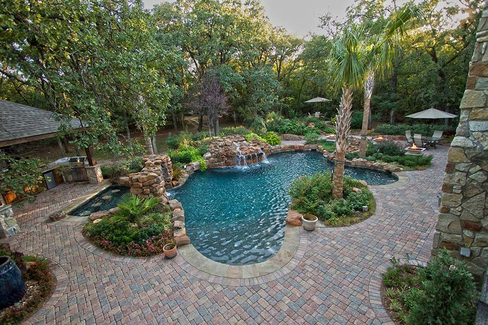 pool landscaping pool with paver deck dallas landscape design abilene landscaping landscaping around poolswimming - Garden Ideas Around Swimming Pools