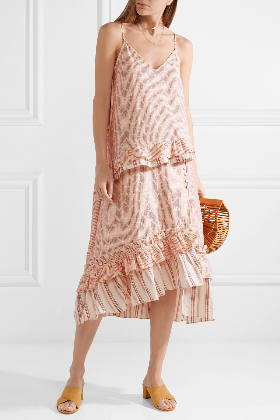 Ecru Imani Ruffled Embroidered Cotton And Silk Blend Gauze Midi Dress Lemlem Dresses Summer Dresses Midi Dress [ 1380 x 920 Pixel ]