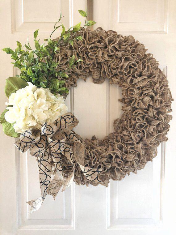 Photo of Burlap Wreath ~ Personalized Wreath ~ Wreath ~ Front Door Wreath ~ Year Round Wreath ~ Year …
