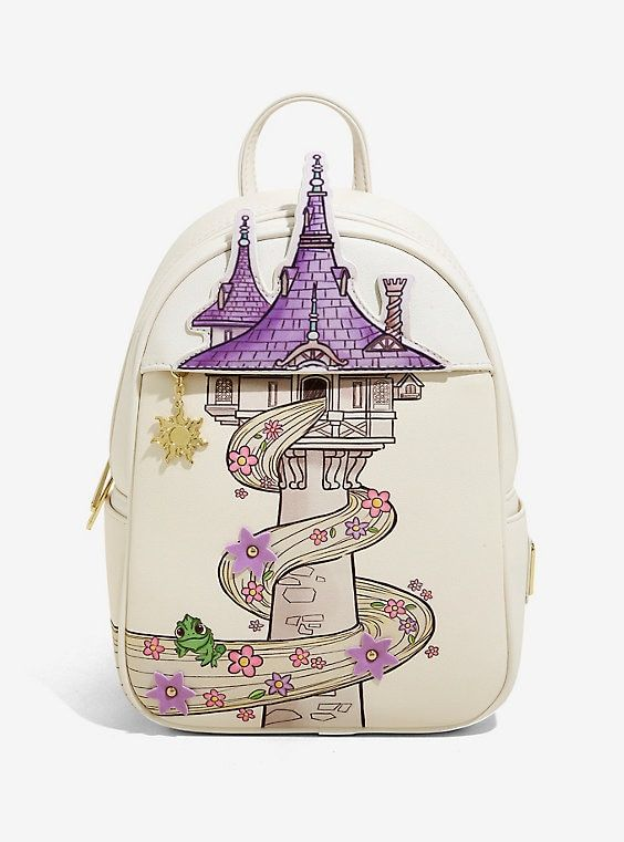 New LOUNGEFLY DISNEY School Bag Backpack PRINCESS TIANA FROG Green Lily Flower