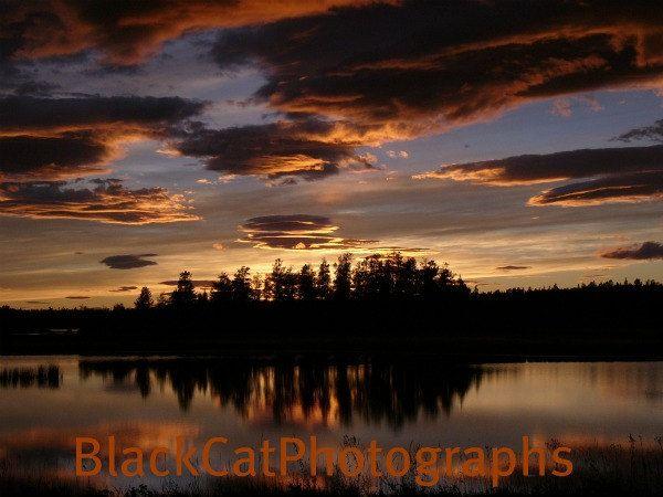 Sunset Photograph, scenic lake photo, orange home decor, Canadian landscape picture. $15.00, via Etsy.