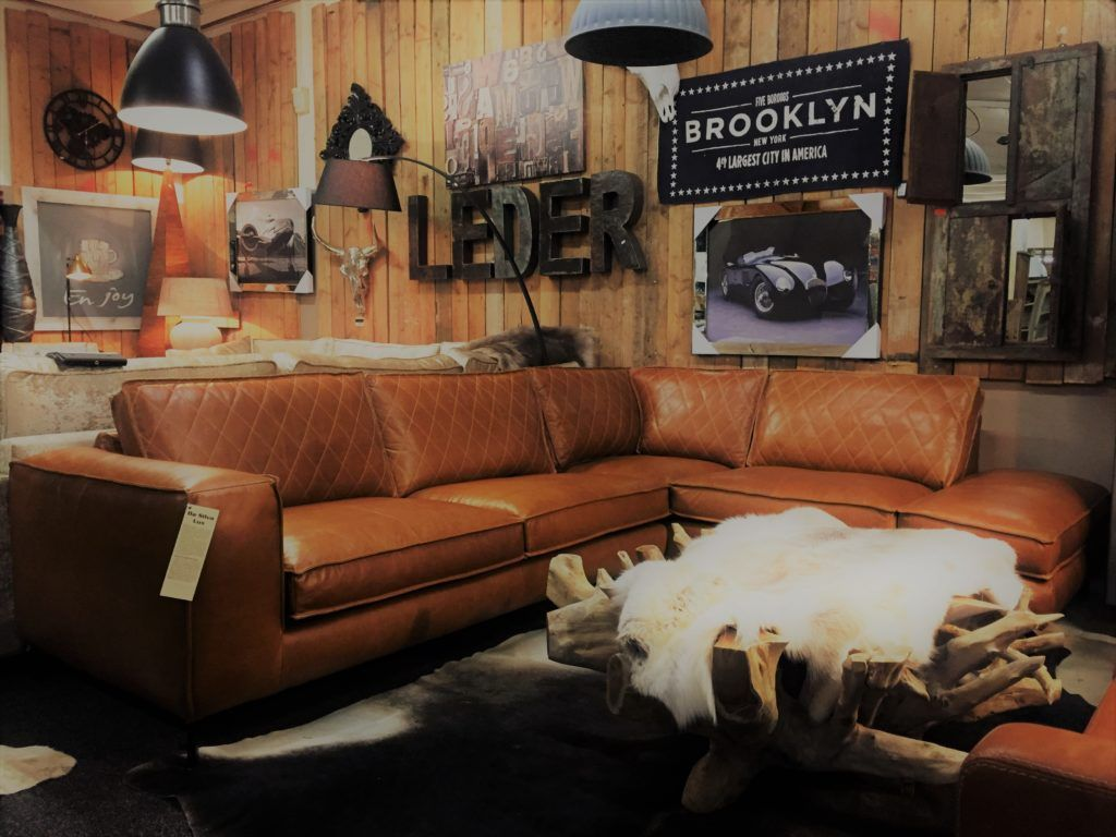 paulo hoekbank in da silva leder luxe cognac van mokana. Black Bedroom Furniture Sets. Home Design Ideas