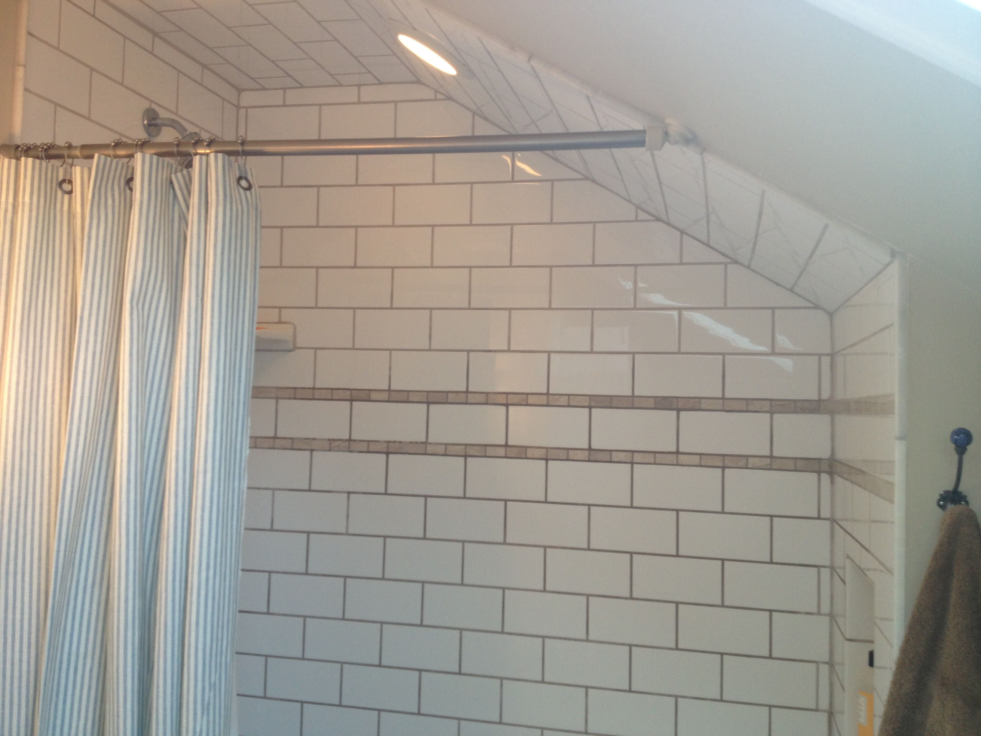 Attic bathroom slanted ceiling decor pinterest for Small bathroom with sloped ceiling