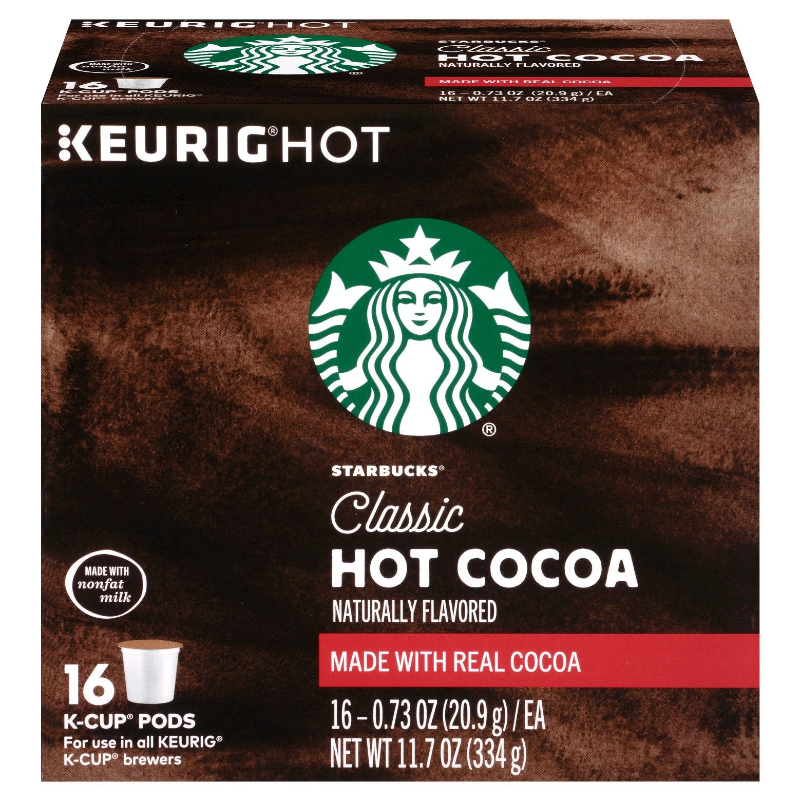 Starbucks Classic Hot Cocoa Keurig K Cup Pods 16ct
