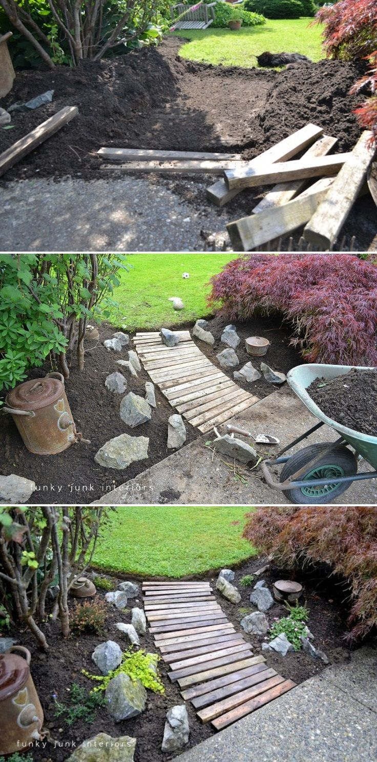 Top 10 creative diy backyard projects wood pallet for Diy pathway ideas