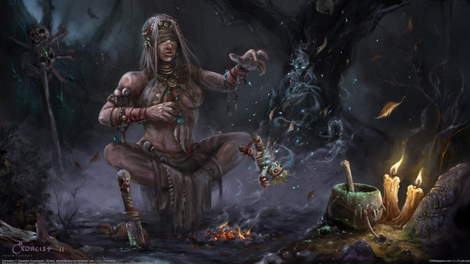 Shaman Voodoo Doll Witchcraft Witch Candles Fire Magic Skull Fragments Hd Wallpaper Witch Doctor Art Fantasy Wizard