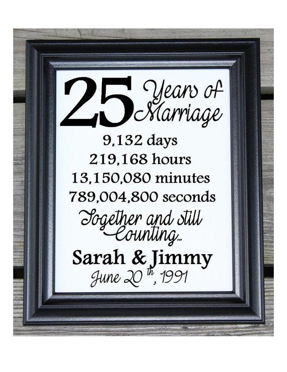 25th Wedding Anniversary Cotton Print 25th Wedding Gift 25 Years
