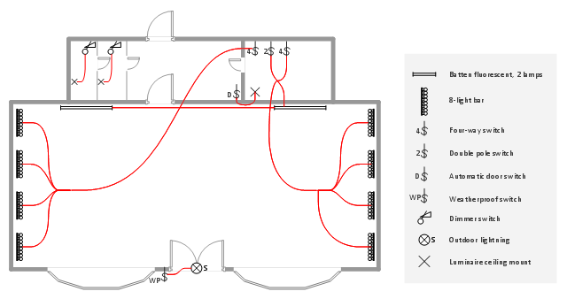 Lighting and switch layout Reflected ceiling plan
