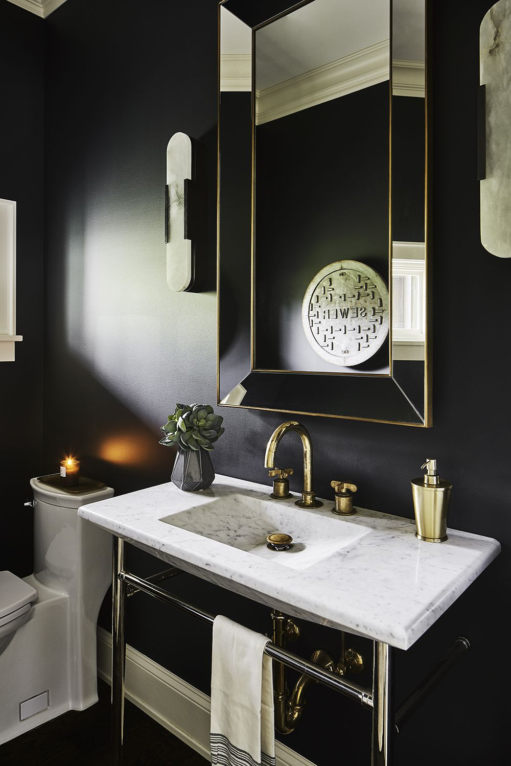 Modern Traditionalist Unexpected Classic Details Pulp Design Studios Small Bathroom Interior Accent Wall Contemporary Bathrooms