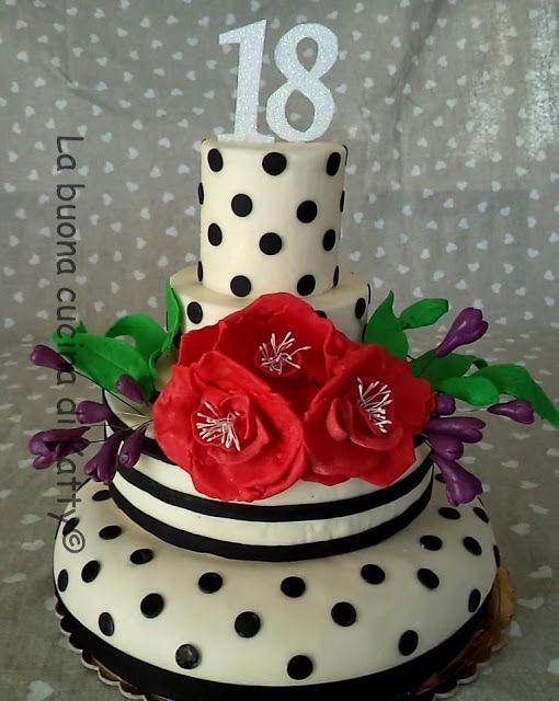 La buona cucina di katty torta a pois con fiori rossi - La cucina di sara torte ...