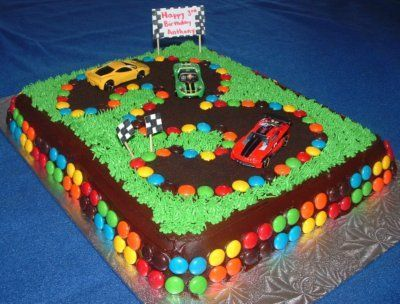 hot wheels cakes | race car cake with m and hot wheels | My boys would love this!!