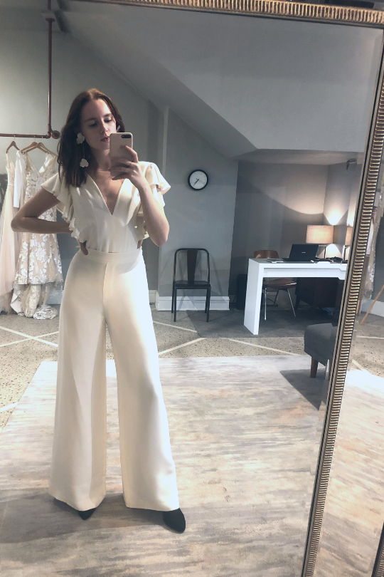 72b4f662a7a5c Alexandra Grecco | Wild Honey Collection | The Lucy Bodysuit, paired with  our Harlow Pants, is an unconventional alternative to your typical bridal  gown.