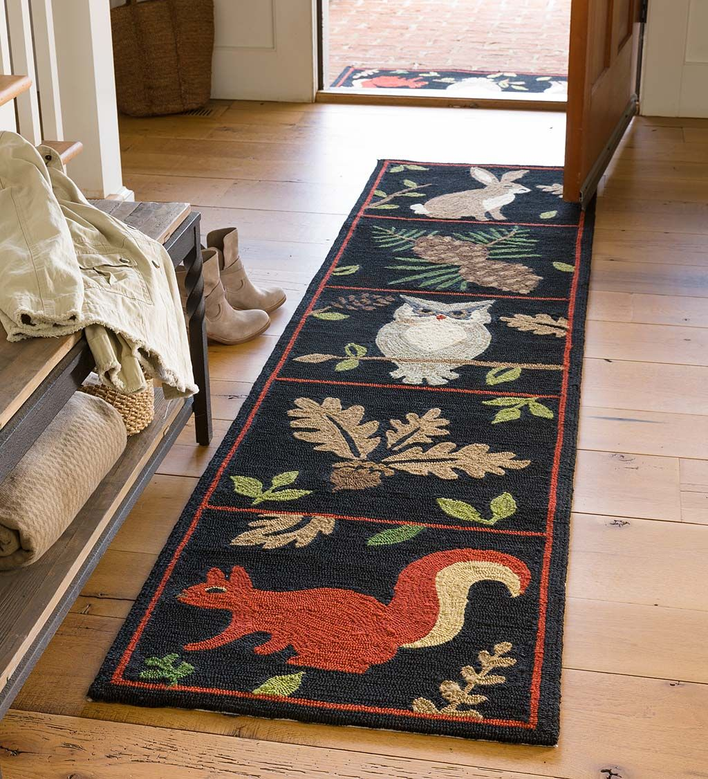 Indoor Outdoor Woodland Runner Indoor Rugs The Folk Art Woodland Pattern Has Rich Texture And Colors And Primitive Decorating Indoor Rugs Brown Area Rugs