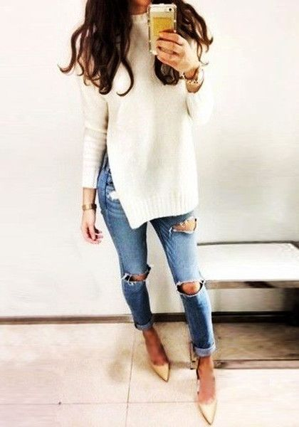 Beige Side Slit Tunic Sweater | Tunic sweater, Distressed jeans ...