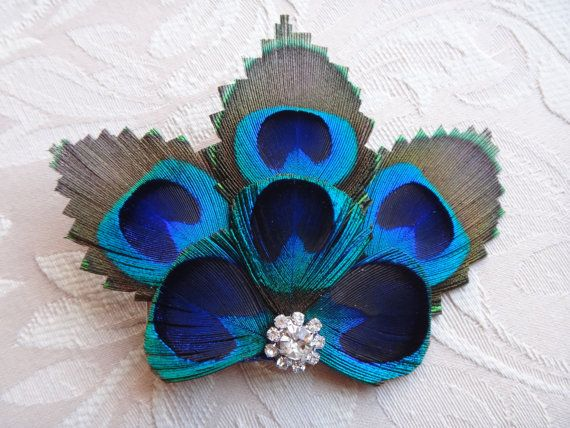 Bridesmaid Peacock feather hair clip, comb, rhinestone, hair fascinator, dress…