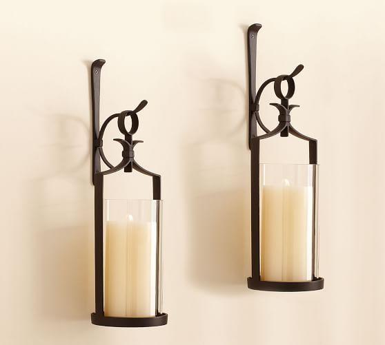 Artisanal Wall Mounted Pillar Lantern Iron Set Of 2 In