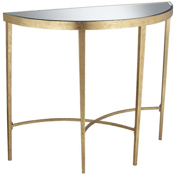 Pacific Coast Amelia Antique Gold Demilune Console Table ($250) ❤ Liked On  Polyvore Featuring