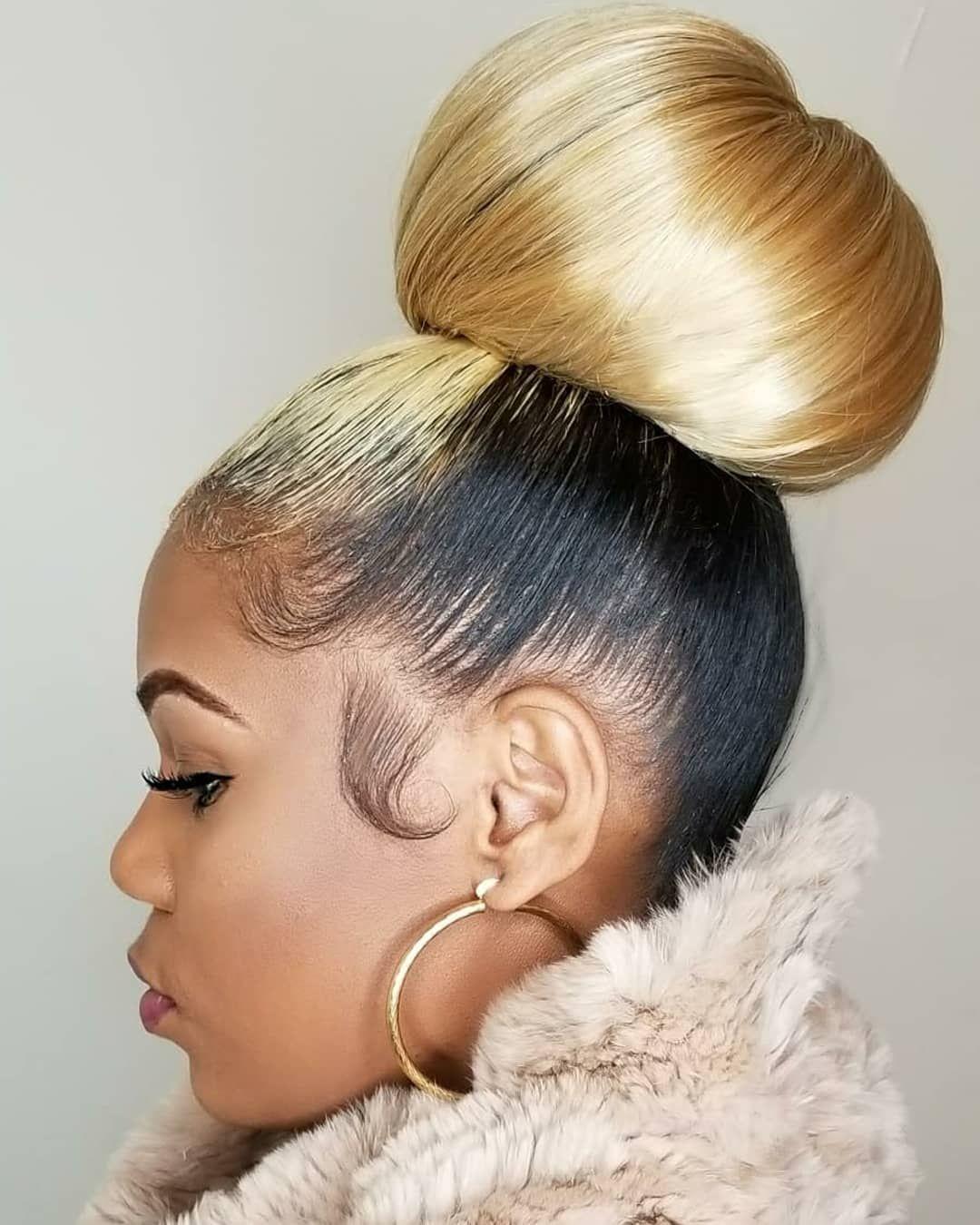 New Youtube Tutorial Alert Tap The Link In Sosheargenius Bio To Learn How To Do This Jumbo Ballerina Bun Black Hair Bun Hair Styles Bun Hairstyles