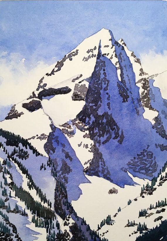 Watercolour Painting Mountain Iii 6 5 X 4 5 Watercolor Mountains Watercolor Landscape Mountain Paintings