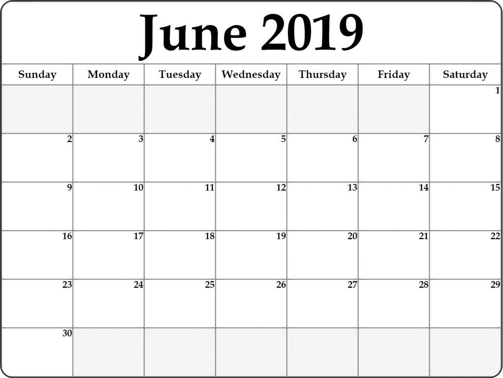 graphic relating to Printable June known as Absolutely free June 2019 Printable Calendar Templates PDF Term Excel