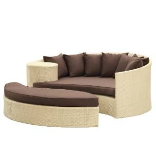 Check out the East End Imports EEI-645-TAN-BRN Taiji Outdoor Rattan Daybed with Ottoman in Tan with Brown Cushions