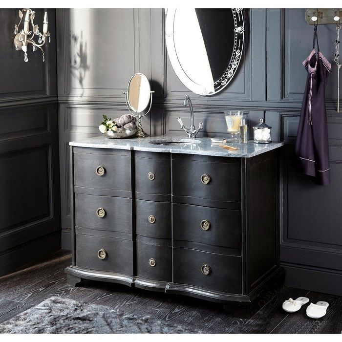 Meuble vasque en bois noir et pierre eugenie maisons du monde maisons du monde meuble - Maison du monde meuble salle de bain ...