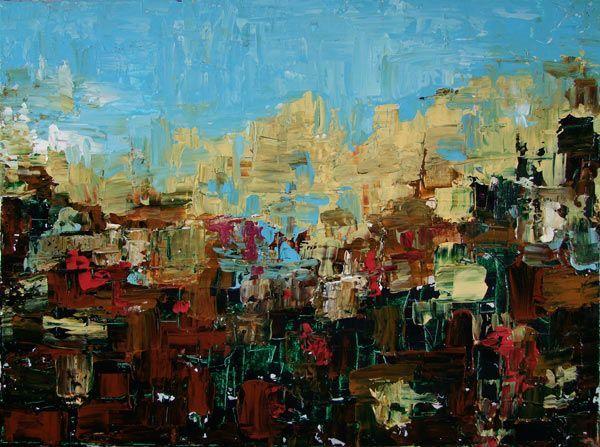 Acrylic painting by Steve Lovati (blue, brown, original art)